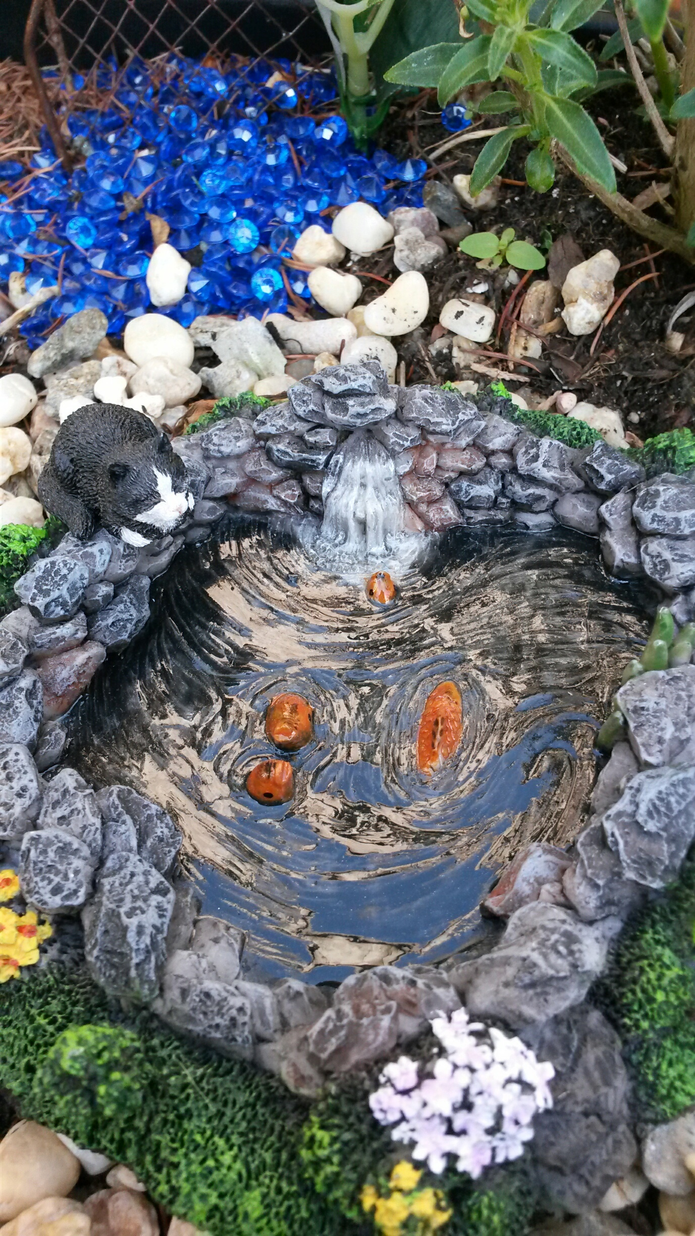 Rock fish pond for Fairy garden waterfall