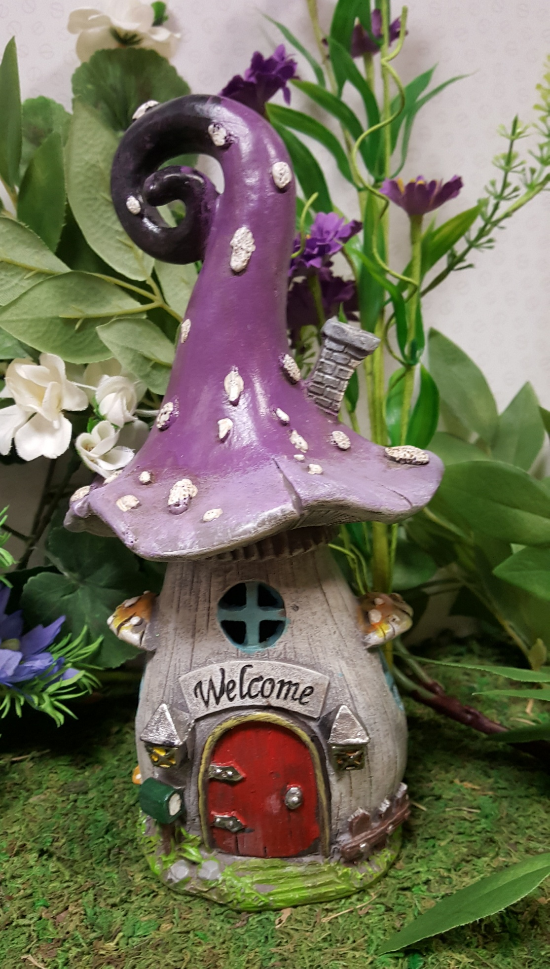 Led Purple Welcome Toadstool House Fairy Gardens Uk