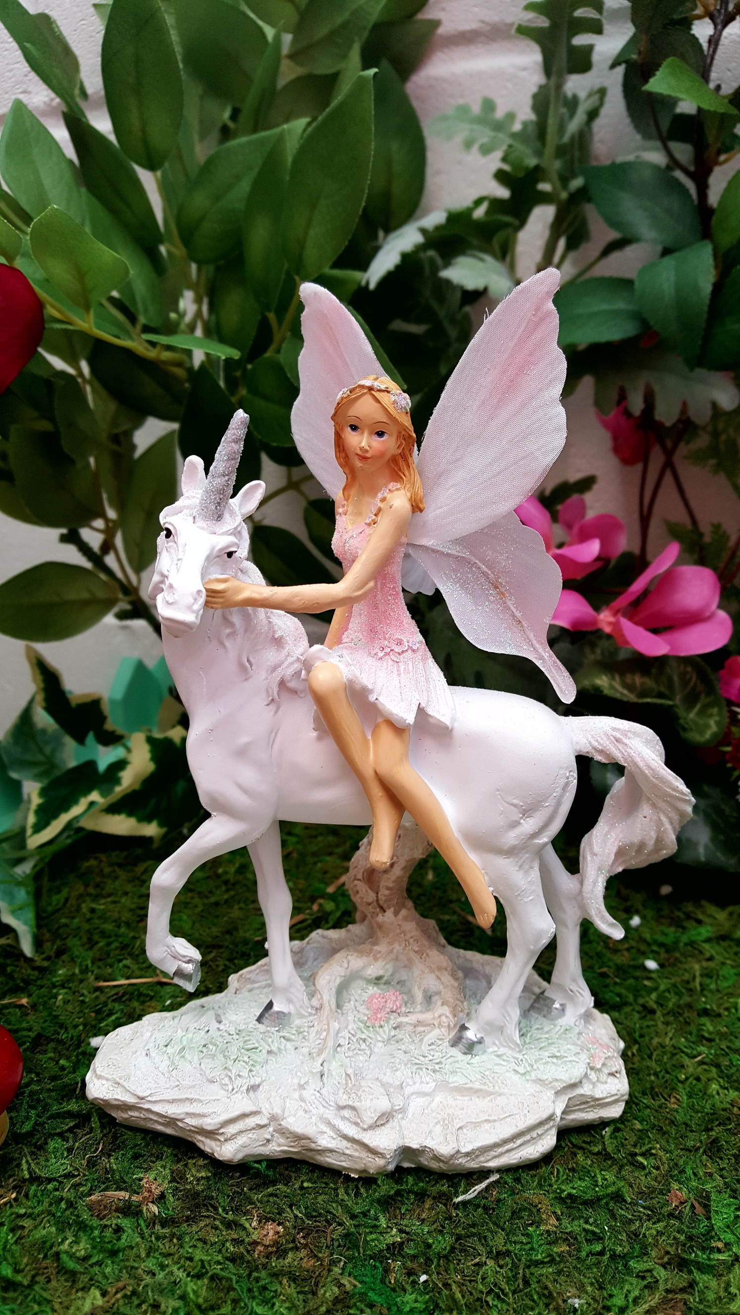 Fairy Sitting On Side Of Unicorn Fairy Gardens Uk